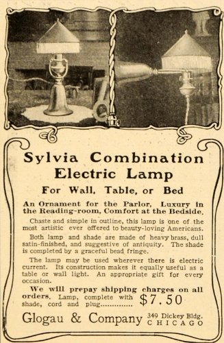 1905 Vintage Ad Glogau Sylvia Electric Lamp Bead Fringe - Original Print Ad from PeriodPaper LLC-Collectible Original Print Archive