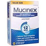 Chest Congestion, Mucinex 12 Hour Extended Release Tablets, 68ct, 600 mg Guaifenesin Relieves Chest Congestion Caused by Excess Mucus, #1 Doctor Recommended OTC Expectorant