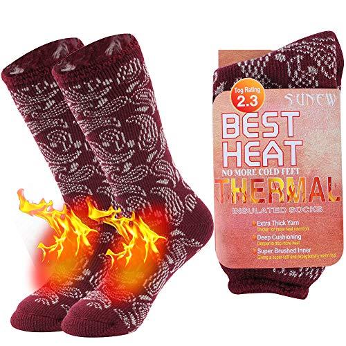 Warm Thermal Socks, Sunew Women's Outdoor Sports Insulated Heated Winter Hiking Mid-calf Socks, Ultra Warmth Skiing Snowboarding Socks, Indoors Durable Thick Slipper Socks, 1 Pair Wine Red Medium