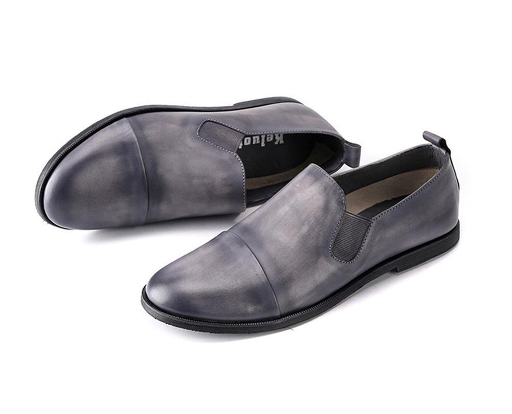XIE Männer Halbschuhe Leder Beiläufig Komfort Komfort Komfort Schlüpfen Faulenzer Fahren Eben Grau Atmungsaktiv Handarbeit Schuhe Arbeit 7f4387