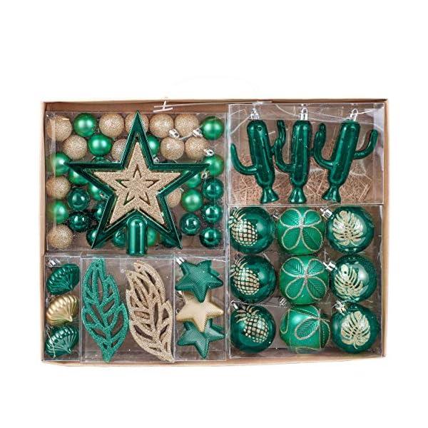Valery Madelyn Palle di Natale 70 Pezzi di Palline di Natale, 3-10 cm di Strada di Campagna Rosso Verde e Oro Infrangibile Ornamenti di Palla di Natale Decorazione per la Decorazione 1 spesavip
