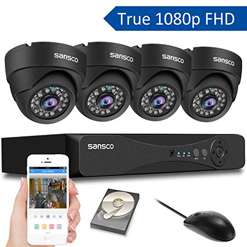 SANSCO CCTV Security Surveillance Cameras System 4Ch 1080P DVR Kit with 4 Dome Cameras, 1TB Hard Drive 1920x1080p, 2MP, Motion Recording, Instant Mobile App Access with Email Alerts