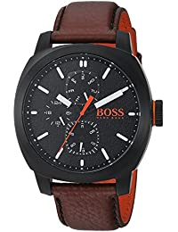 Men's 'CAPE TOWN' Quartz Stainless Steel and Leather Casual Watch, Color:Brown (Model: 1550028)