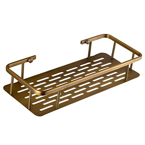 Nokozan Brass Bathroom Square Shower Caddy Bathroom Storage Rack Shelf Organiser Basket Wall Mount, Bronze