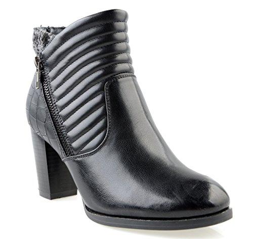 Eyekepper Moda Mujer cremallera lateral franela interior tacones gruesos Ankle Bootie con puntera redonda forma negro