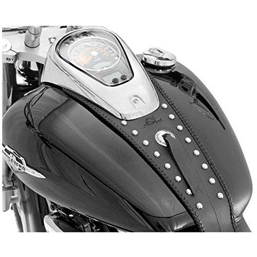 (Mustang Black Studded Tank Bibs for Harley Davidson 2007-2012 Yamaha V-Star 130 - One Size)