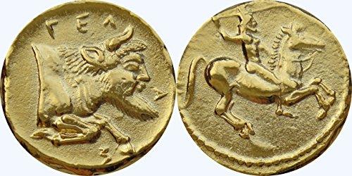 [Greek Gela Didrachm Coin 465 to 450 BC, (#40 -G)] (Bulls 24k Gold Coin)