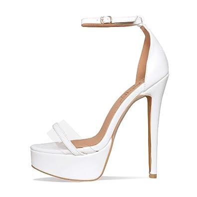 1b242dfe033 onlymaker Women s Sexy High Heel Stiletto Sandals Platform Pumps Ankle Strap  Open Toe Single Band Dress