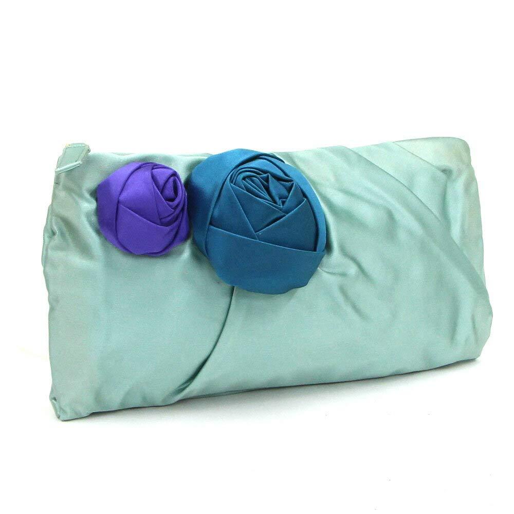 PRADA(プラダ) クラッチバッグ BP0177 グリーン ブルー パープル サテン 中古 パーティバッグ プチバッグ お花 フラワー PRADA [並行輸入品]   B07BWBV8SY