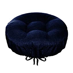 Bar Stool Cover - Rave Indigo Blue - Indoor / Outdoor Bar stool Cushion - Latex Foam Bar Stool Cushion with Adjustable Drawstring (Solid Color