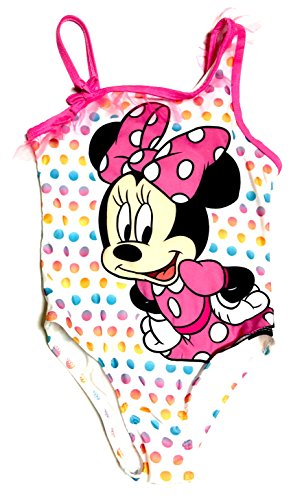 (Minnie Mouse Rainbow Polka-Dots One Piece Toddler Swimsuit 4T)