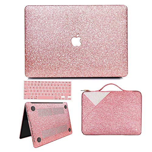 MacBook Pro 13 Case 2018 2017 2016 Release A1989/A1706/A1708, Anban Glitter Bling Smooth Protective Case & Glitter Laptop Sleeve & Keyboard Cover Compatible for Mac Pro 13 with/Without Touch Bar ()