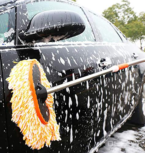 (BMDHA Car Wash Brush Long Handle Telescopic 75cm -118cm, Superfine Fiber Soft Brush, Will not Hurt The Paint,1)