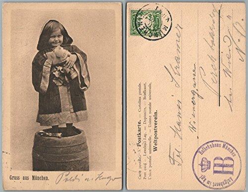 - GRUS AUS MUNCHEN GERMANY LITTLE GIRL w/BEER STEIN ANTIQUE POSTCARD w/STAMP