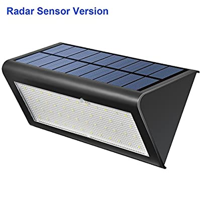 Radar Sensor Lights Aotson 48LEDs 800 Lumens Solar Motion Sensor Light Outdoor Wall Lamp with 360 Degrees Induction for Patio, Deck, Yard, Garden with Motion Activated Auto On/Off