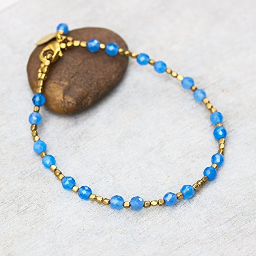 Blue chalcedony faceted beads bracelet and gold 22k plated on brass - Faceted Chalcedony Beads