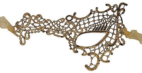 (Luxury Mask Women's Stunning All Gold Lace Masquerade Mask)