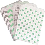 popcorn boxes mint - Silver Mint Green and White Paper Treat Sacks - Chevron Polka Dot Favor Bags - 5.5 x 7.5 Inches - 48 Pack