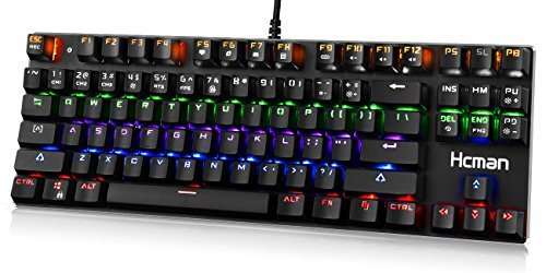 LED Backlit Mechanical Gaming Keyboard - Hcman USB Wired Computer Gaming Keyboard Blue Switches with Cool 6 Colors Light for PC or Mac,87 Keys (Black) [並行輸入品] B07GBVXVQJ