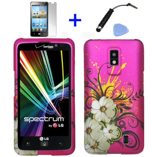 (4 items Combo: Stylus Pen, Screen Protector Film, Case Opener, Graphic Case) Pink Hawaiian White Flower Green Vine Design Rubberized Snap on Hard Cover Protector Shell Faceplate Skin Case for Verizon LG Spectrum VS920 (will fit 1st Generation LG Spectrum Only) ()