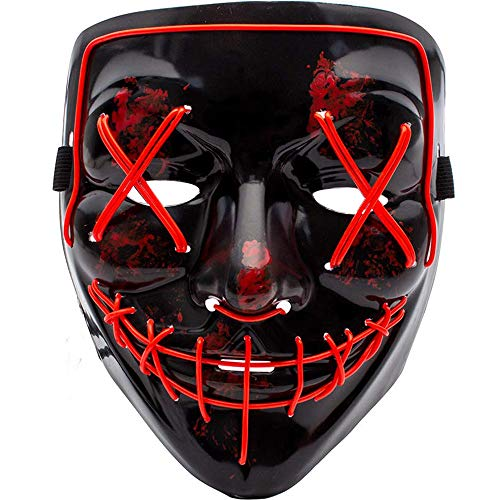 MeiGuiSha LED Halloween Purge Mask,Halloween Scary Cosplay Light up Mask for Festival Parties(RED)