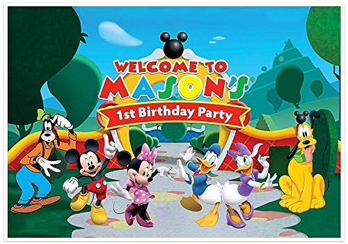 Mickey Mouse Invitations With Photo (Mickey Mouse Clubhouse Birthday Banner Personalized Party Decoration Cake Table Backdrop -)