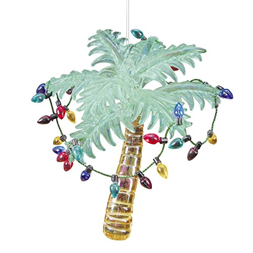 Glass Tropical Palm Tree Christmas Ornament