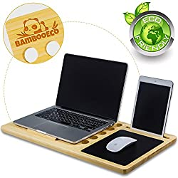 Bamboo Eco Premium Bamboo Lap Desk - Portable Laptop Stand & Desk Board Slate for MacBook - Smartphone Docking Slot - Built-In Mousepad - Air Ventilation - 100% Eco Friendly - Includes Carry Tote Bag.