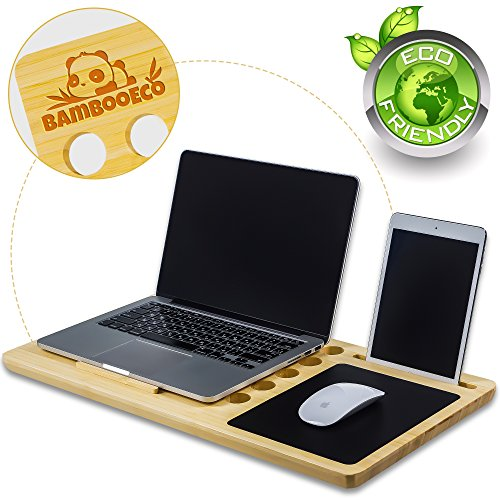 (BambooEco Premium Bamboo Lap Desk - Portable Laptop Stand & Desk Board Slate for MacBook - Smartphone Docking Slot - Built-In Mousepad - Air Ventilation - 100% Eco Friendly - Includes Carry Tote Bag.)