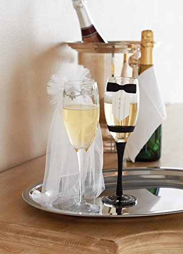 Mud Pie Bride and Groom Stemmed Champagne Glass Set