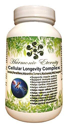 Cheap Anti Aging supplements with Antioxidants (Cellular Longevity Complex), 90 cap, Pterostilbene,Niacinamide,Turmeric,Trans Resveratrol,DMAE,Astaxanthin,Pomegranate, Vitamin A,C,E