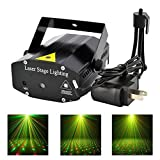 Mini LED Mixed Red&Green Stage Light Sound Music Active Auto Flash Stage Projector Light with Tripod for Disco Lights Club Party Home Black (ship from us)
