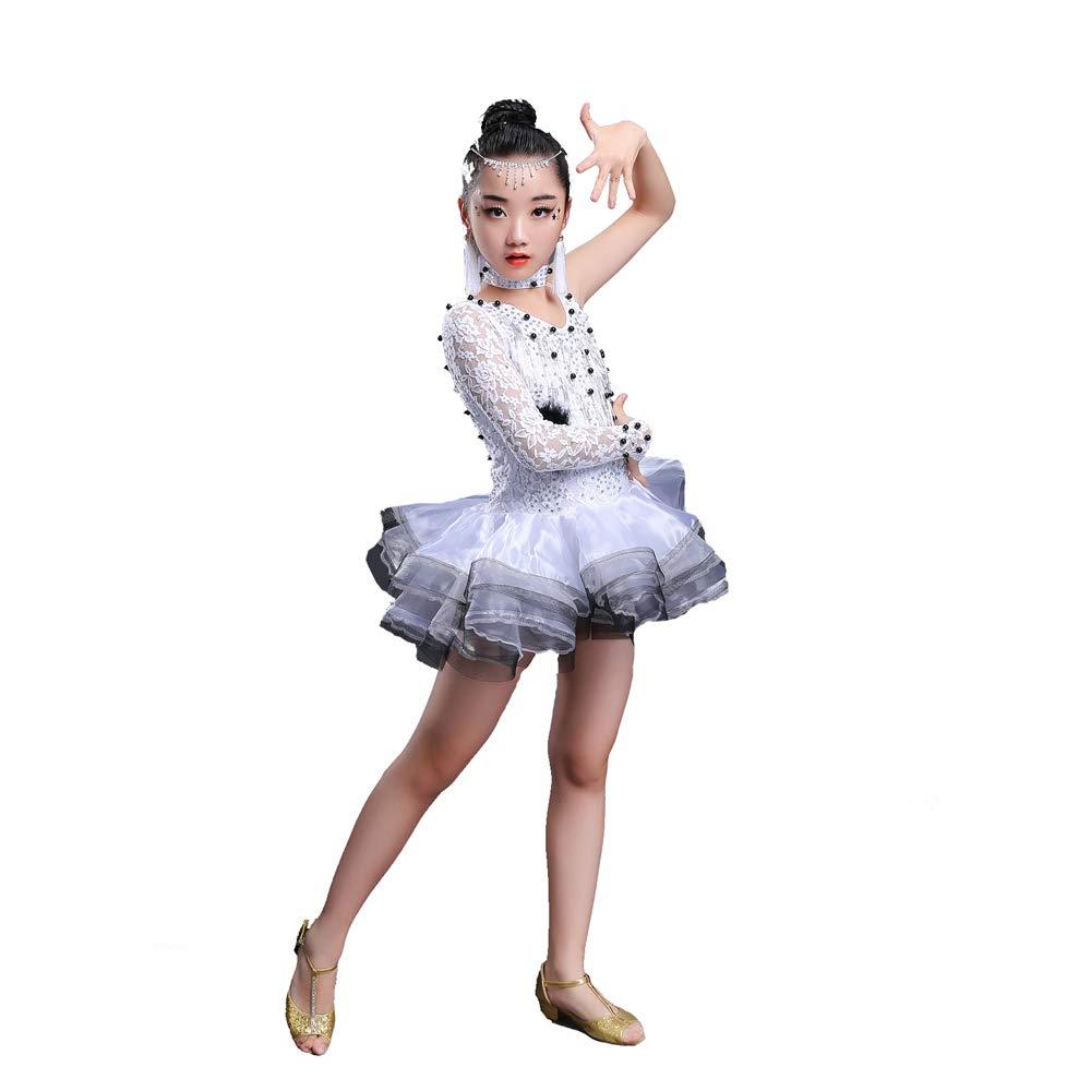 Blanc 150cm YONGMEI Costumes de Danse Latine pour Enfants - Jupe Fluffy VêteHommests de Danse