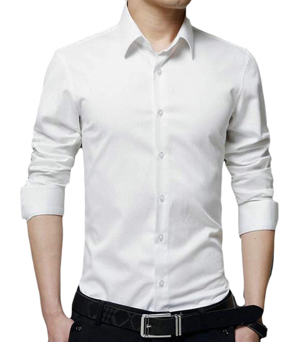 Etecredpow Mens Casual Business Solid Button Front Long Sleeve Shirts