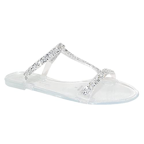 8653bb30325 TRENDSup Collection Women Summer Bling Open Toe Jelly Sandal Flat Shoes (6