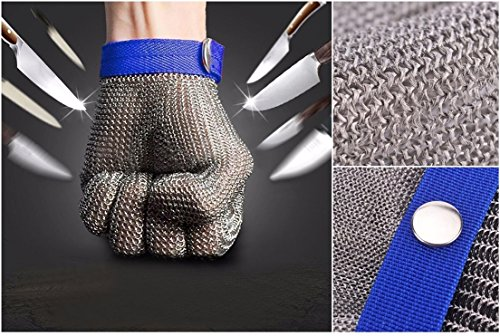 1-Sets (Not a Pair) Foremost Popular Hot Stainless Steel Glove Anti-Scratch High Strength Metal Stab-Resistant Color Silver-Blue Size - Hyde Sunglasses