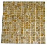 5/8 x 5/8 Premium Quality Honey Onyx Polished Mosaics Meshed on 12'' X 12'' Sheet for Backsplash, Shower Walls, Bathroom Floors