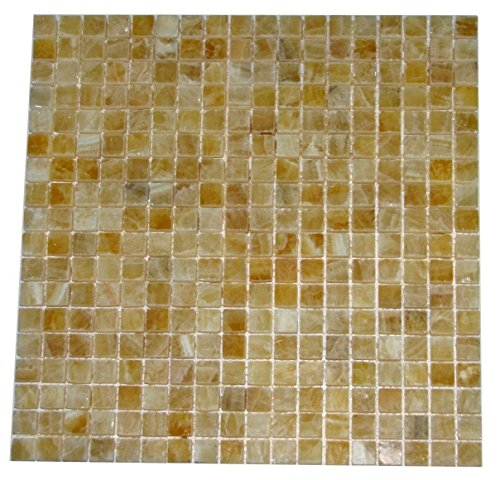 5/8 x 5/8 Premium Quality Honey Onyx Polished Mosaics Meshed on 12
