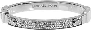 Michael Kors Silver-Tone Crystal Pave Astor Stud Bangle Bracelet MKJ2746040