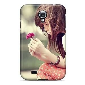 New Style DaMMeke Girl With Flower Premium Tpu Cover Case For Galaxy S4 wangjiang maoyi