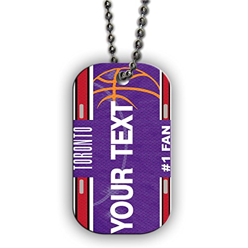 - BRGiftShop Customize Your Own Basketball Team Toronto Single Sided Metal Military ID Dog Tag with Beaded Chain