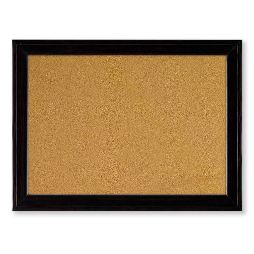Quartet Home Decor Natural Cork Bulletin Board, 17 x 23 Inches, Ebony Frame (79281)
