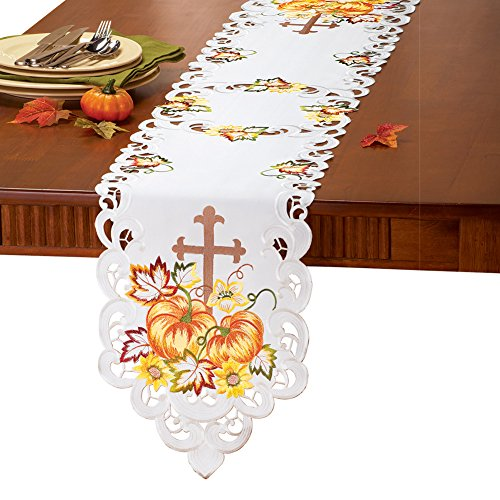 Collections Etc Embroidered Pumpkin and Cross Table Linens Runner, Runner
