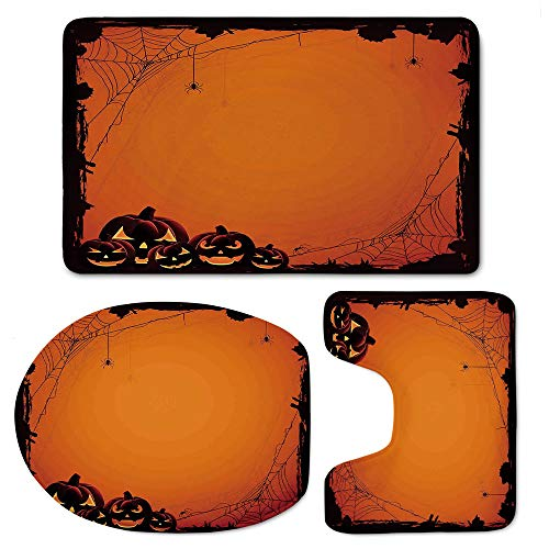 YOLIYANA Halloween Decorations Bath Mat 3 Piece Set Soft Flannel Cloth Washable Toilet Seat Covers Toilet Lid Covers Cushions Pads Skidproof Bath -