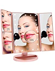 FASCINATE Makeup Mirror with 21 LED Lights Tri-Fold Touch Screen Illuminated Vanity Mirror 1x/2x/3x/10x Magnification Tabletop Cosmetic Mirror 180° Rotation Two power Supply Light Up Magnifying Mirror