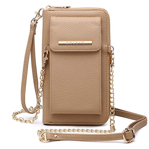 Cellphone Wallet Purse Phone Pouch Wristlet Clutch Crossbody Shoulder Bag - 12 Slots (Beige New)