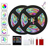 LED Strip Lights, Barhootao RGB LED Light Strip Battery Operated, Music Sync 3.28FT/1M 5050SMD Color Changing Rope Lights Waterproof LED Tape Lights Kit with Remote for Party Room (2Pcs)