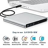 External CD DVD Drive , Ultra Slim Portable DVD Rewriter Burner, USB 3.0 DVD Drive CD +/-RW DVD +/-RW Burner Super Drive for Apple Mac Macbook Pro Windows 10 Laptop PC -Silver