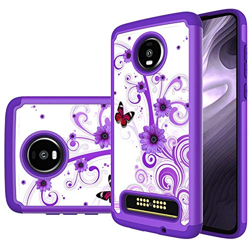 Moto Z4 Case, Moto Z4 Play Case, MAIKEZI Hybrid Dual Layer TPU Plastic Armor Defender Phone Case Cover for Motorola Moto Z4 / Moto Z4 Play (Armor Purple - Purple Plastic Case