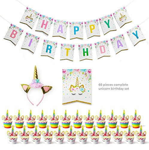 Cute Magical Unicorn Birthday Party Set-banner,cupcake Toppers,glittery Headband